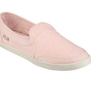 Sanuk pink slip on's